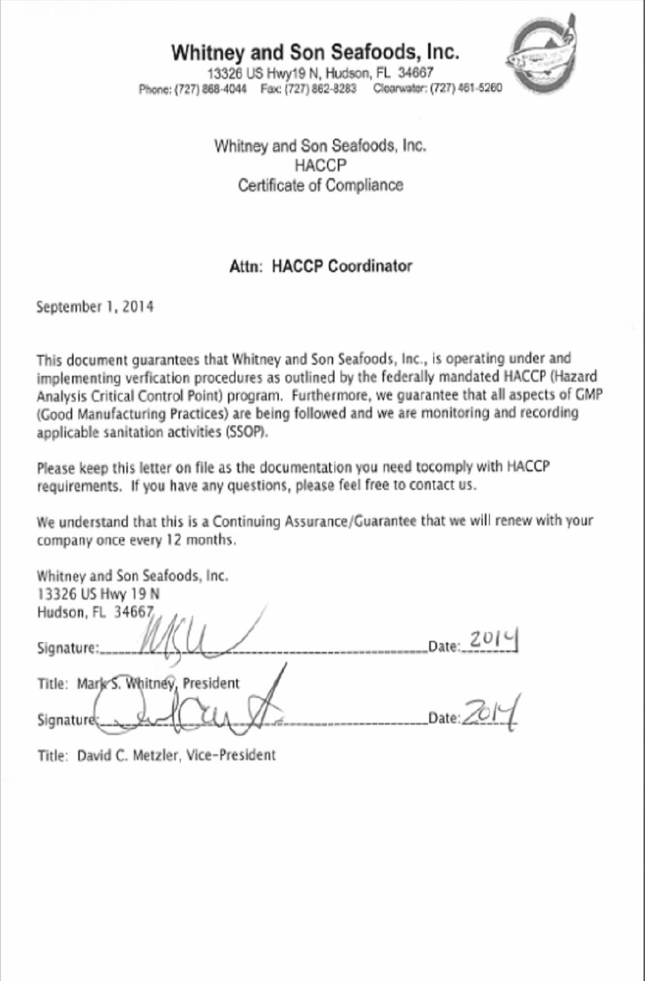 Whitney and Son Seafoods, HACCP Letter of Compliance