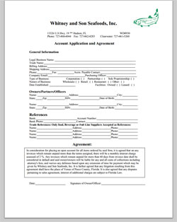 Whitney and Son Seafoods, Credit Application